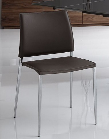 Ice Black Leather Dining Chair Set of 2