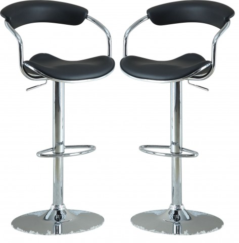 Modern Black Adjustable Bar Stool Set of 2