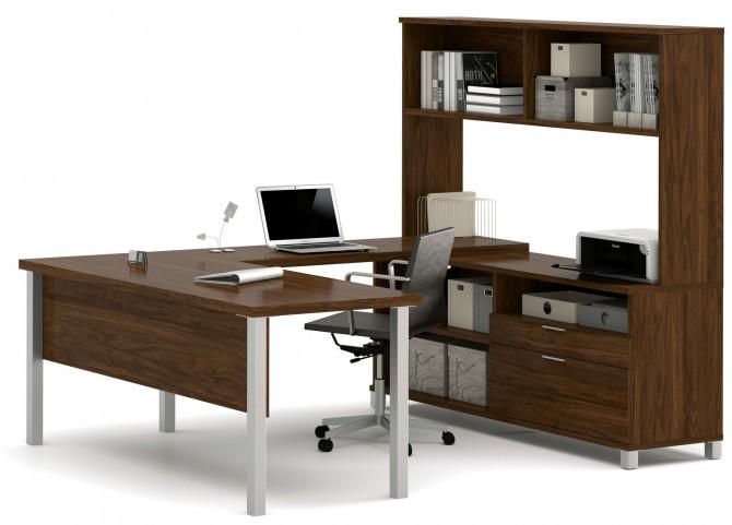 Pro-Linea Oak Barrel U-Desk With Hutch