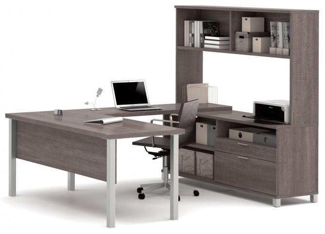 Pro-Linea Bark Grey U-Desk With Hutch