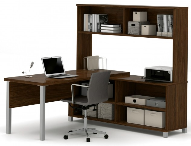 Pro-Linea Oak Barrel L-Desk With Hutch
