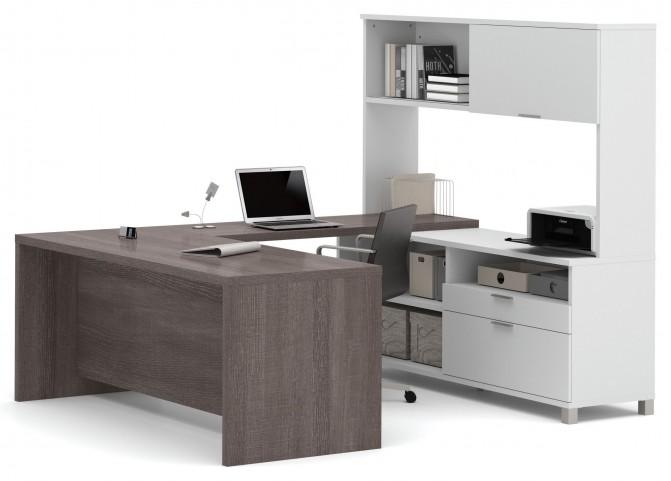 Pro-Linea White & Bark Grey U-Desk With Hutch