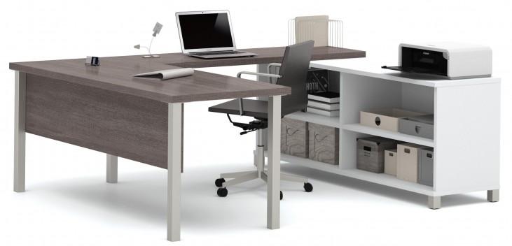 Pro-Linea White & Bark Grey U-Desk