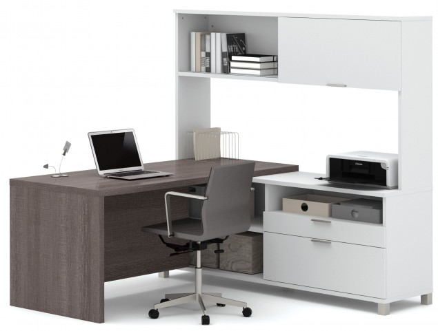 Pro-Linea White & Bark Grey Drawer L-Desk With Hutch