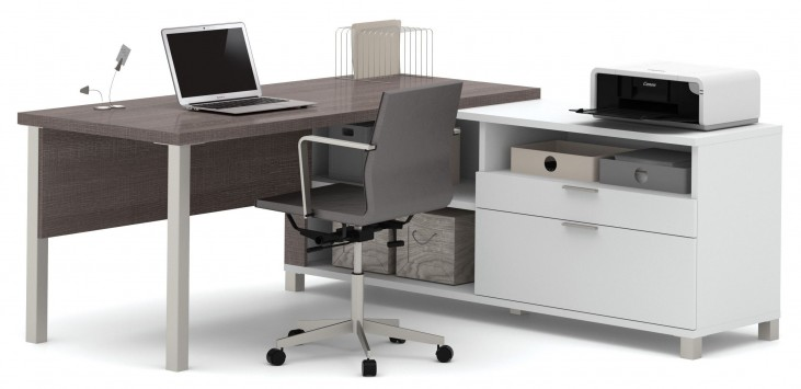 Pro-Linea White & Bark Grey Drawer L-Desk