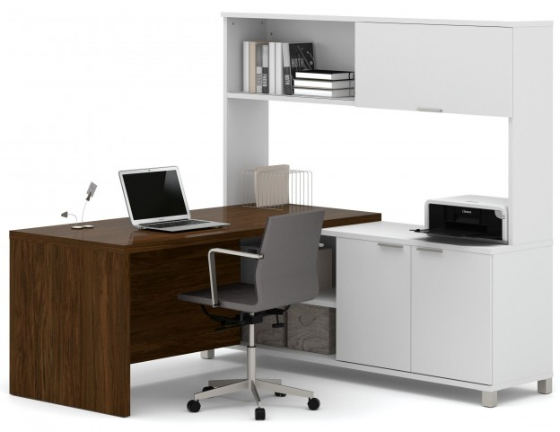 Pro-Linea White & Oak Barrel Door L-Desk With Hutch