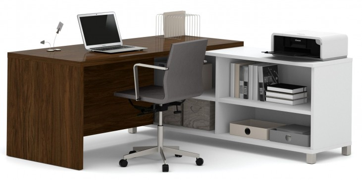 Pro-Linea White & Oak Barrel Door L-Desk