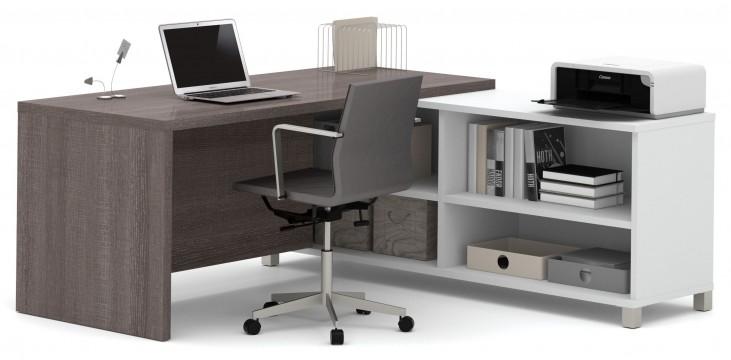 Pro-Linea White & Bark Grey Door L-Desk