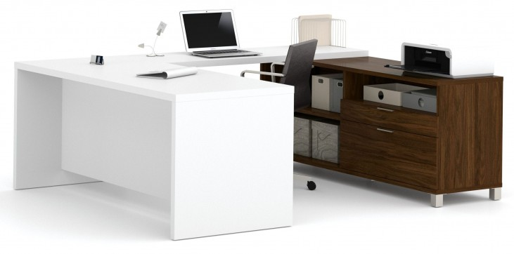 Pro-Linea Oak Barrel & White U-Desk