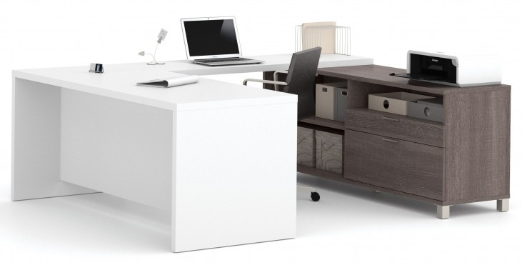 Pro-Linea Bark Grey & White U-Desk