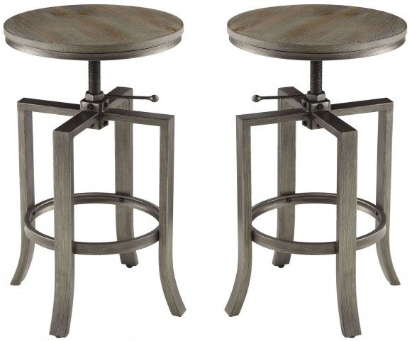 Medium Walnut Adjustable Bar Stool Set of 2