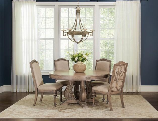 Ilanadining Antique Linen Round Dining Room Set