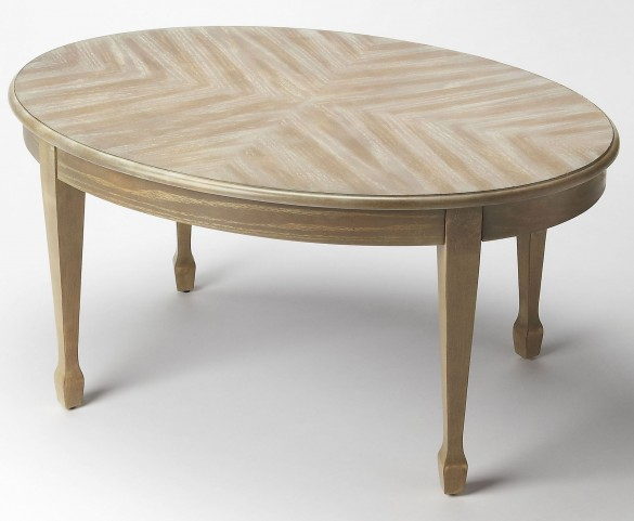 Plantation Cherry Clayton Driftwood Oval Cocktail Table
