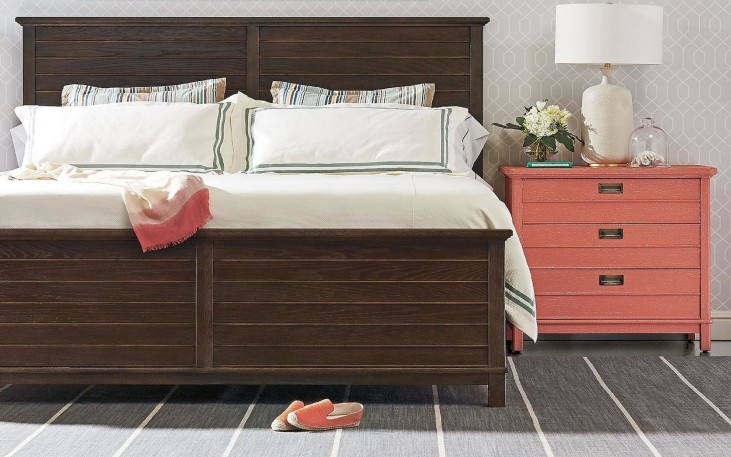 Coastal Living Resort Channel Marker Cape Comber Panel Bedroom Set with Melon Cape Comber Bachelor's Chest