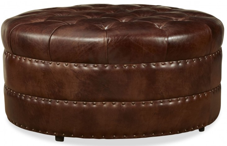 Hudson Milan Chocolate Cocktail Leather Ottoman