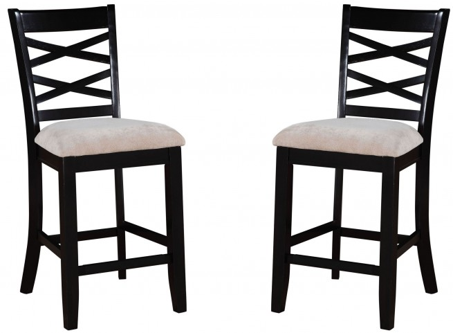 Epiphany Dark Java Brown Upholstered Counter Height Chair Set of 2