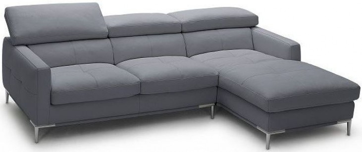 1281b Grey Italian Leather RAF Sectional