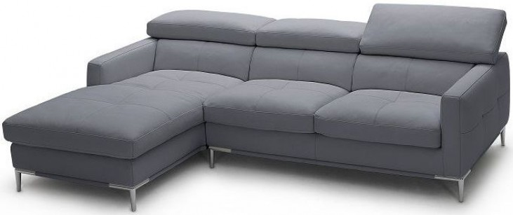 1281b Grey Italian Leather LAF Sectional