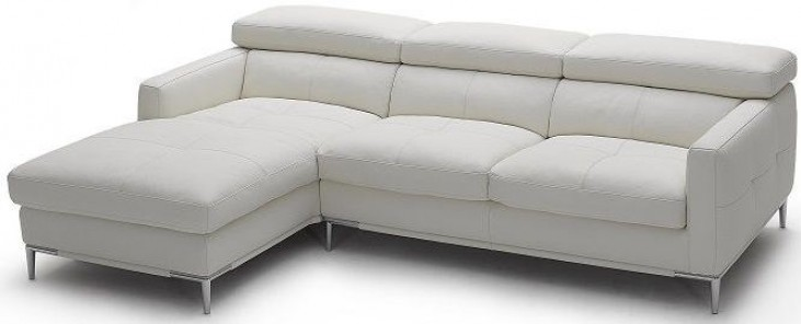 1281b White Italian Leather LAF Sectional