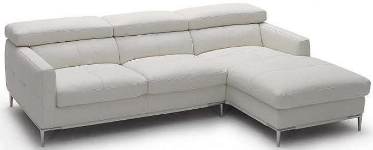 1281b White Italian Leather RAF Sectional