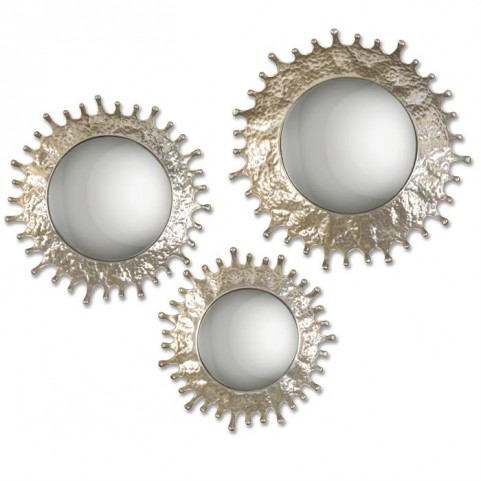 Rain Splash Round Mirrors Set of 3