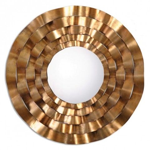 Follonica Antiqued Gold Round Mirror