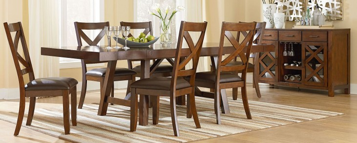Omaha Burnished Saddle Brown Trestle Extendable Dining Room Set