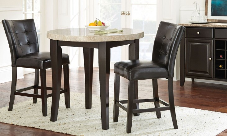 Monarch Cordovan Dark Cherry Round Counter Height Dining Room Set