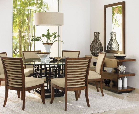 "Ocean Club 60"" South Seas Round Glass Dining Room Set"