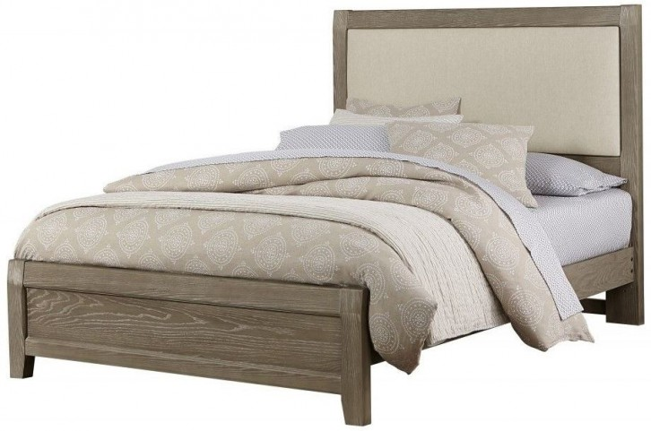 Bedford Washed Oak King Upholstered Panel Bed
