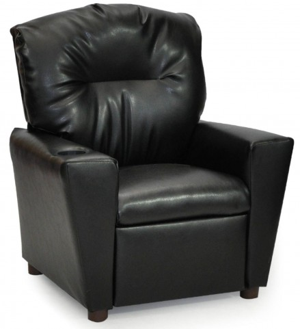 Juvenile Black Kids Recliner with Cup Holder