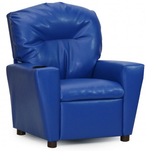 Juvenile Blue Kids Recliner with Cup Holder