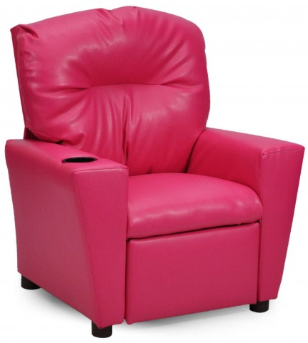 Juvenile Pink Kids Recliner with Cup Holder