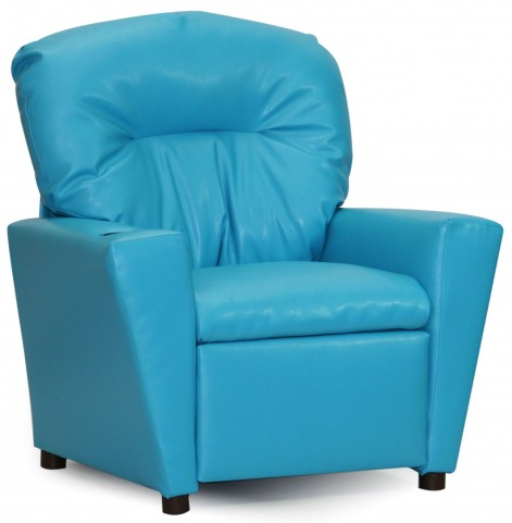 Juvenile Turquoise Kids Recliner with Cup Holder