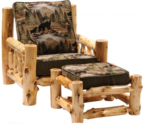 Cedar Log Frame Ottoman For Lounge Chair