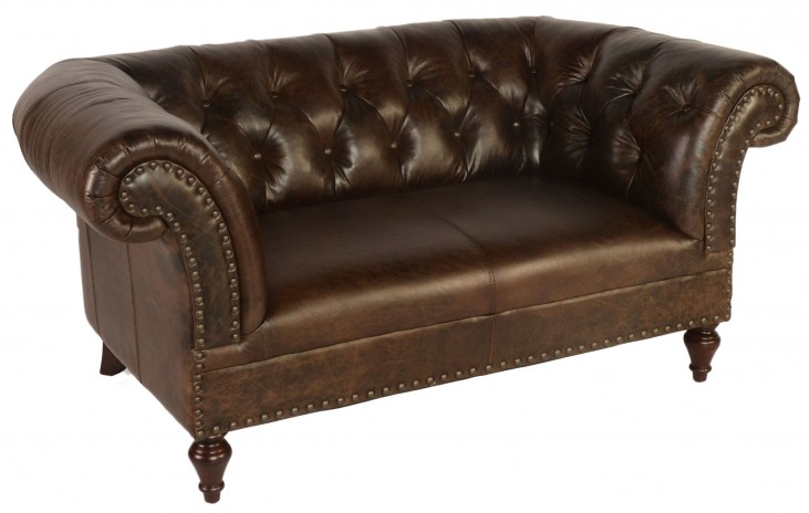 Jaffna Brompton Chocolate Leather Loveseat