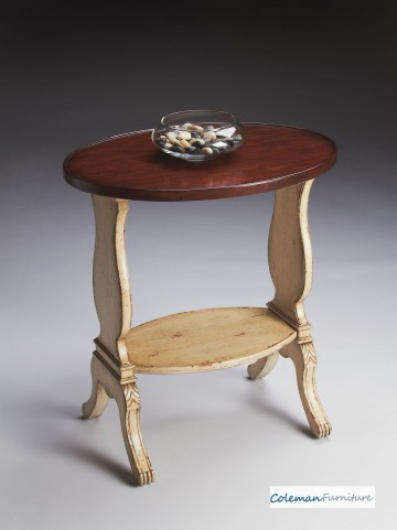 Vanilla & Cherry Oval Accent Table