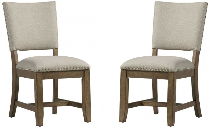 Riverton Aged Nickel Upholstered Side Chair Set of 2