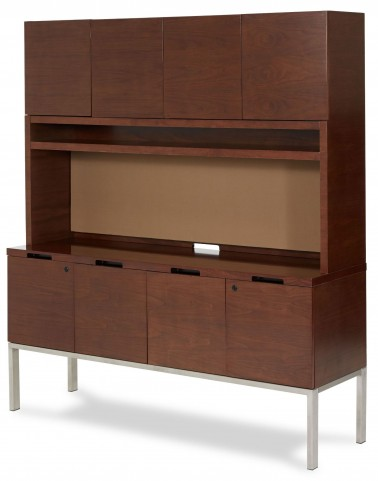 Incept Dark Almond Credenza With Hutch