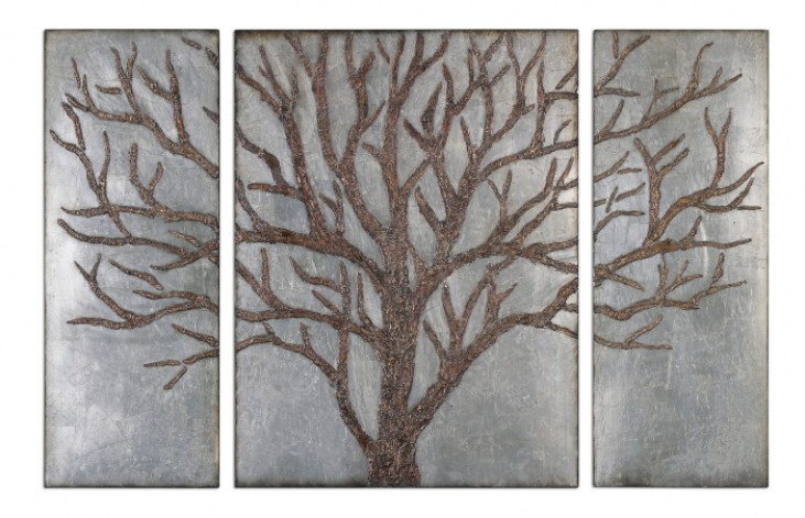 Winter View Rustic Tree Mirror Set of 3