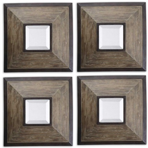 Fendrel Squares Wood Mirror Set of 4