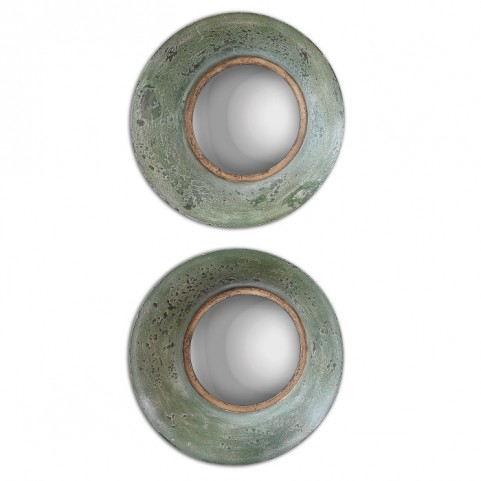 Forbell Aged Round Mirrors Set of 2