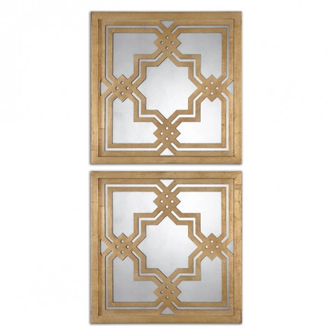 Piazzale Gold Square Mirrors Set of 2