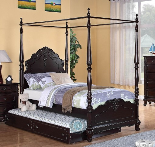 Cinderella Dark Cherry Full Canopy Poster Bed
