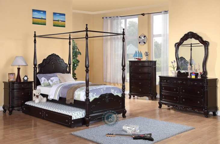Cinderella Dark Cherry Youth Canopy Poster Bedroom Set