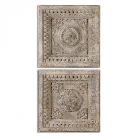 Auronzo Aged Ivory Squares Set of 2