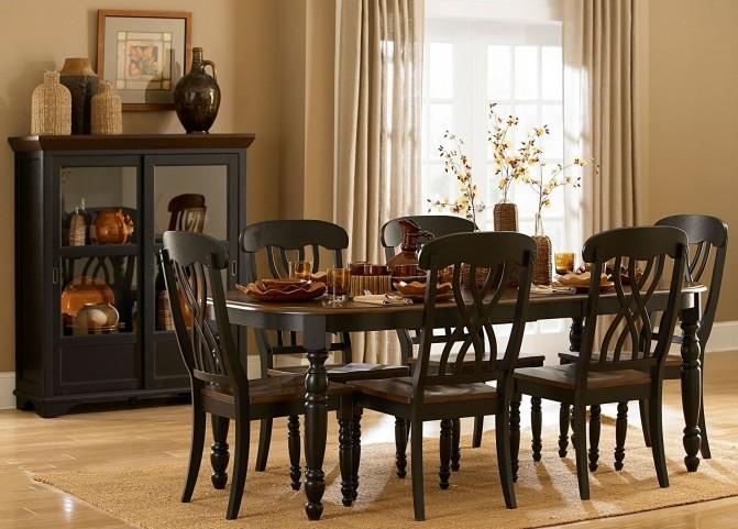 Ohana Black Rectangular Dining Room Set
