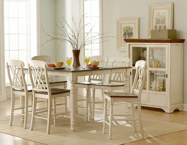 Ohana 2 Tone Butterfly Leaf Extendable Counter Height Dining Room Set