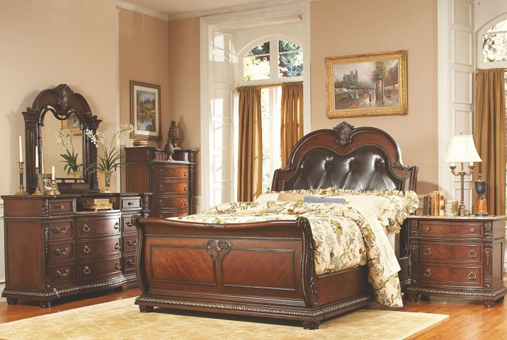Palace Rich Brown Leather Sleigh Bedroom Set