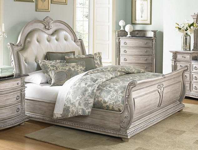 Palace II White Wash Cal. King Bonded Leather Sleigh Bed
